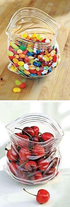 IT'S GLASS! Unzipped Bag Shaped Hand Blown Glass Bowl. - http://www.MyWonderList.com