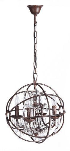 """Небольшая темно- коричневая люстра, обрамленная металлическим шарообразным каркасом, с гирляндами хрустальных подвесок и четырьмя подсвечниками с рельефным под """"старину""""  рисунком, элегантно впишется  современный стиль интерьера.             Метки: Люстры в комнату, Люстры потолочные, Современные люстры, Хрустальные люстры.              Материал: Металл, Хрусталь.              Бренд: DG Home.              Стили: Лофт.              Цвета: Темно-коричневый."""
