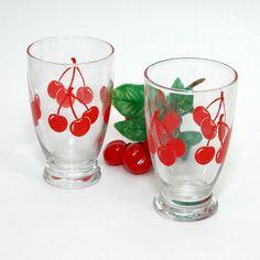 Set Of 2 Vintage Anchor Hocking Cherry Print Juice Glasses Glassware by tipsyvintage, $8.50