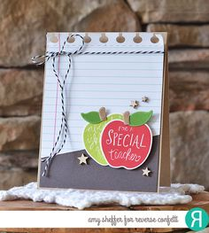 Card by Amy Sheffer. Reverse Confetti stamp set: All Apples. Confetti Cuts: All Apples and Office Edges. Teacher Appreciation card. Thank you card.