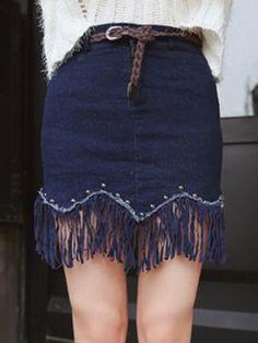 Shop Blue Belted Studs Embellished Fringe Hem Denim Skirt from choies.com .Free shipping Worldwide.$21.59