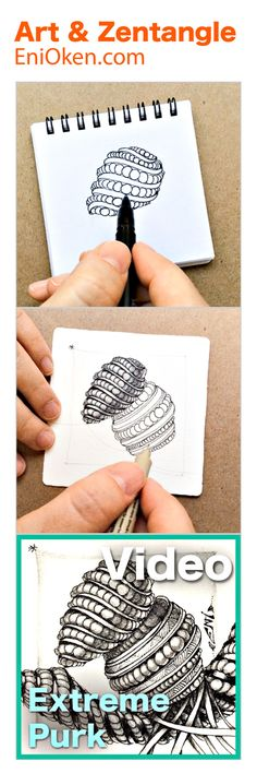 Learn how to draw and shade Zentangle pattern Purk in 3D, in a way you never imagined. • enioken.com
