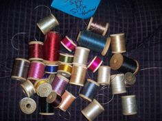 Wooden Spools of Silk Thread Many colors & brands lot of 30 sld