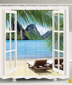 Palm Tree Decor Ocean Beach Seascape Heaven Sunbeds Balcony White Wooden Windows Summer Photography Tropical Island Fabric Shower Curtain Ambesonne http://www.amazon.com/dp/B01BLQ420A/ref=cm_sw_r_pi_dp_I-p2wb1YW5SW9