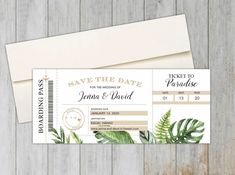 Tropical Leaf Save the Date Magnet  | Boarding Pass Save the Date | Destination Wedding Save the Date Tropical Leaves, Tropical Flowers, Destination Wedding Save The Dates, Save The Date Photos, Save The Date Magnets, Addressing Envelopes, Wedding Announcements, Wow Products, Peace Of Mind