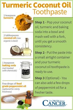 Turmeric Coconut Oil Toothpaste Recipe: Avoid the toxins in regular toothpaste and try this coconut turmeric home made toothpaste. Ingredients include turmeric, coconut oil, baking soda and few drops of food grade peppermint oil. Want to stay abreast of n Coconut Oil Toothpaste, Toothpaste Recipe, Homemade Toothpaste, Coconut Oil For Teeth, Coconut Oil Pulling, Coconut Oil Uses, Benefits Of Coconut Oil, Organic Coconut Oil, Natural Toothpaste