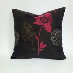 Modern Dark Grey with Pink and Silver Details Pillow
