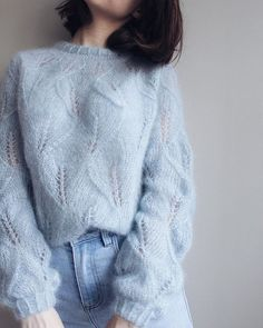 Sweater Knitting Patterns, Lace Knitting, Knitting Designs, Knit Patterns, Knit Crochet, Drops Design, Drops Kid Silk, Fotos Do Instagram, Lace Cardigan