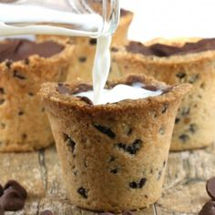 """Chocolate Chip Cookie Shot Glasses for the ultimate """"Cookies and Milk"""""""