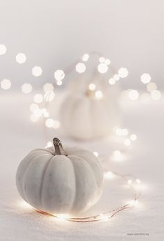 white pumpkin & twinkle lights