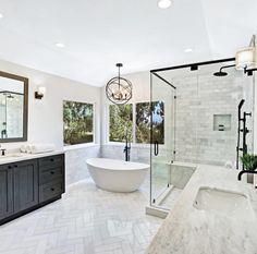 148 Elegant Small Bathroom Design Ideas with Modern White Theme 067 Bathroom Renos, Bathroom Renovations, Small Bathroom, Bathroom Ideas, Spa Master Bathroom, Master Tub, Bathtub Ideas, Shiplap Bathroom, Master Shower