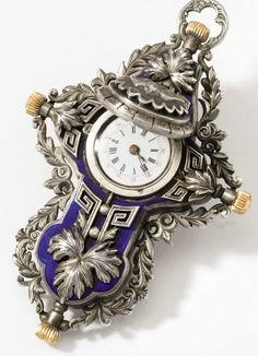 Anon. An unusual and rare silver and enamel crucifix pendant watch ( UNSIGNED, CIRCA 1870)