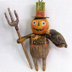 Pumpkin Scarecrow Spun Cotton Ornament Vintage by ArbutusHunter Retro Halloween, Halloween Doll, Holidays Halloween, Halloween Themes, Halloween Crafts, Happy Halloween, Halloween Decorations, Fall Projects, Paperclay