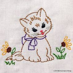 Vintage Embroidery Designs Vintage Kitty with Flowers Machine Embroidery Design 2 sizes, or vintage colorwork INSTANT D - Chain Stitch Embroidery, Learn Embroidery, Hand Embroidery Patterns, Machine Embroidery Designs, Embroidery Stitches, Embroidery Sampler, Baby Embroidery, Christmas Embroidery, Ribbon Embroidery
