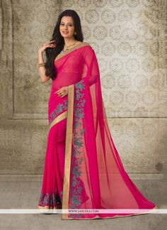 Bring out the true diva in you and reinvent your true self. Add grace and charm to your appearance in this beautiful hot pink georgette casual saree. The lovely patch border work throughout the attire...