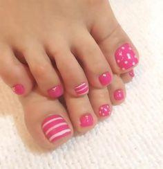 Image via Cute Red Toe Nail Art Designs, Ideas, Trends & Stickers 2015 Image … - Diy Nail Designs Pink Toe Nails, Pretty Toe Nails, Toe Nail Color, Cute Toe Nails, Summer Toe Nails, Feet Nails, Fancy Nails, Toe Nail Art, Diy Nails