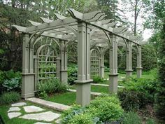 wonderful pergola with flagstone path entry