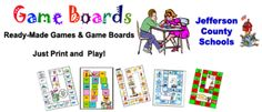Free printable ready-made games and game boards.