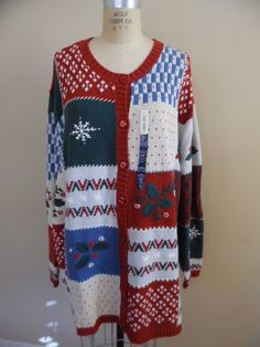 4978b5c1fe2 Almost Vintage 2001 Cherokee Christmas Sweater; Red, Green, Blue and White  Not So Ugly Christmas Sweater; Woman's Size Plus Size Sweater by  LetasVintage on ...