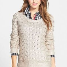 Nordstrom Halogen Foiled Cable Knit Long Sleeve Pullover Sweater Sz XS #Halogen…