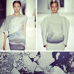 Glacial landscape prints at Lacoste & Park Choon Moo, cool & calm for #fall13. #nyfw #mbfw #trends #runway #latergram #ice #digital #prints #aw13