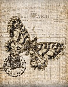 Antique French Butterfly Postmarks Digital Download for Tea Towels, Papercrafts, Transfer, Pillows, etc Burlap No 7207 SEPIA