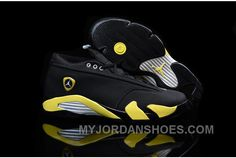 d0a206accfbdd8 Air Jordan Shoes Air Jordan 14 Retro Low Thunder Black Vibrant Yellow-White   Air Jordan 14 - Tinker Hatfield and Mark Smith worked on the XIV s  aerodynamic ...