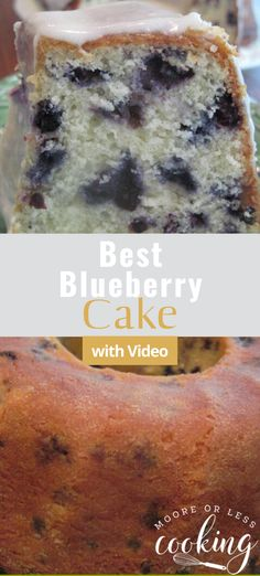 Best Blueberry Cake & Video - Moore or Less Cooking. Incredibly moist and delicious Best Blueberry Bundt Cake! That glaze is over the top amazing! Easy Desserts, Delicious Desserts, Dessert Recipes, Cupcake Recipes, Pastry Recipes, Dessert Ideas, Baking Recipes, Sour Cream Icing, Blueberry Bundt Cake