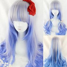 Womens Cosplay Party Wig Prop Silver Blue Color Highlights Wavy Curly Hair Extensions -- Want additional info? Click on the image.