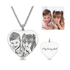 Personalized Photo-Engraved Necklace Sterling Silver,Mother's day gifts,best gifts for mom