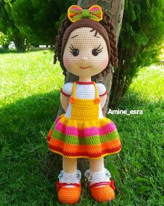 Gorgeous Amigurumi Dolls Love this sweet travelling doll crochet amigurumi pattern!As you know, I love amigurumi! And I'm so impressed by the lovely amigurumi doll patterns that are a Yazıyı Oku… Make your child your own toy … my the is Doll Dress Crochet Dolls Free Patterns, Crochet Doll Pattern, Amigurumi Patterns, Amigurumi Doll, Doll Patterns, Amigurumi Tutorial, Crochet Doll Clothes, Knitted Dolls, Bag Pattern Free