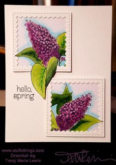 Lilac Hello Spring Card | Tracy Marie Lewis | www.stuffnthingz.com