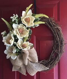 """A personal favorite from my Etsy shop <a href=""""https://www.etsy.com/listing/270004943/springsummer-chic-burlap-magnolia-wreath"""" rel=""""nofollow"""" target=""""_blank"""">www.etsy.com/...</a>"""