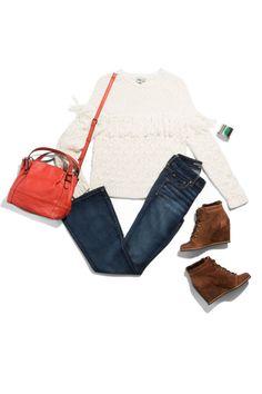 Shirt, asos.com; Jeans, ae.com; Wedge boots, drschollsshoes.com; Simply Vera Vera Wang bag, kohls.com; Bracelet cuff, lotusjewelrystudio.com