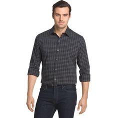 Men's Van Heusen Traveler Slim-Fit Stretch No-Iron Button-Down Shirt, Size: Medium, Black