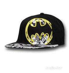 54fb7c07d27 Images of Batman Embroidered Side Signal Flat Bill Cap Flat Bill Hats