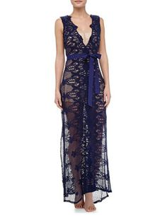 MIGUELINA Eve Partially Lined Crochet Maxi Dress