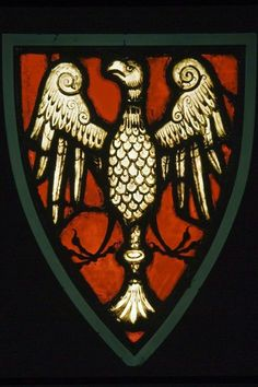 Wappen mit Adler in Glasfenstern    Stained glass window with Shield of Arms with Eagle