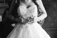 Lace and Beaded Strapless Sweetheart Neckline Ballgown Wedding Dress | Woodlawn Farm, Maryland Wedding | Birds of a feather Photography