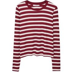 Mango Striped Rib T-Shirt, Dark Red ($19) ❤ liked on Polyvore featuring tops, t-shirts, red stripe tee, stripe long sleeve tee, stripe t shirt, long sleeve tops and long sleeve t shirt