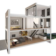 Shipping container house: 2 bed and office Tiny House Design, Modern House Design, Modern Houses, Home Interior Design, Interior Architecture, Studio Interior, Casas Containers, Sims House, House 2