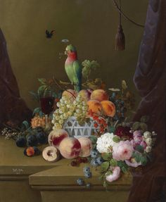 Della Rotta  —  Still Life with Fruit, Roses, Butterflies and a Parrot, 1876 (947x1153)