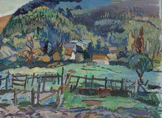 Giovanni Solari (Italy 1907-1998)  Bardonecchia, la staccionata - Bardonecchia, The Fence (n.d.) tempera on cardboard 48 x 65cm