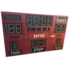 Basketball Scoreboard, circa 1980s | From a unique collection of antique and modern sports at https://www.1stdibs.com/furniture/more-furniture-collectibles/sports/