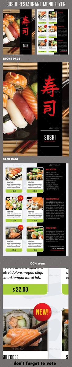 Sushi Restaurant Menu Flyer V  Sushi Restaurants Flyer
