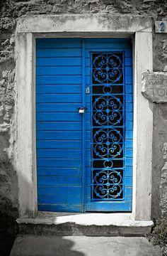 The Blue Door -Istria, Croatia - by Elisa Medeot, Entrance Ways, Entrance Doors, Doorway, Porte Cochere, Cool Doors, Unique Doors, Knobs And Knockers, Door Knobs, When One Door Closes