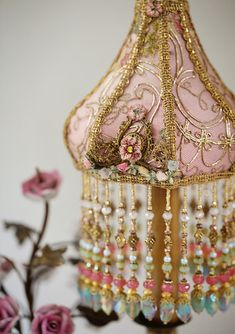 Detail of French Porcelain Rose Lamp with Victorian Lampshades and Ribbon Flowers