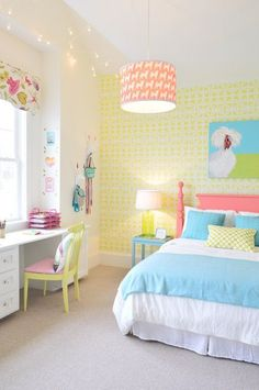 Young House Love big girl room - like bright headboard and built in desk Dream Rooms, Dream Bedroom, Bedroom Small, Modern Bedroom, Trendy Bedroom, 6 Year Old Girl Bedroom, Master Bedroom, Childs Bedroom, Bedroom Colors
