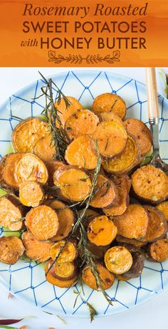 """Rosemary Roasted Sweet Potatoes with Honey Butter Recipe by Alison Roman Serves 8 3 lbs. sweet potatoes, scrubbed, unpeeled, sliced about ½"""" thick 4 sprigs rosemary 2 Tbsp. olive oil Kosher salt and pepper 2 Tbsp. unsalted butter 2 Tbsp. honey (or more if you're really feeling it) 2 tsp. crushed red pepper flakes (optional)"""