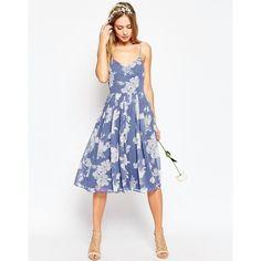 ASOS WEDDING Rose Print Midi Dress ($99) ❤ liked on Polyvore featuring dresses, multi, sweetheart dress, sweet heart rose dress, print dress, white midi dress and sweetheart chiffon dress